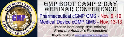 GMP Boot Camp Novermber Drug and Device Webinar Conference